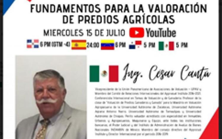 """CHARLA VIRTUAL """" FUNDAMENTOS PARA LA VALORACIÓN DE PREDIOS AGRÍCOLAS¨"""