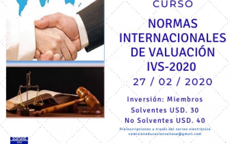 CURSO NORMAS INTERNACIONALES DE VALUACIÓN IVS-2020 - 27/02/2020