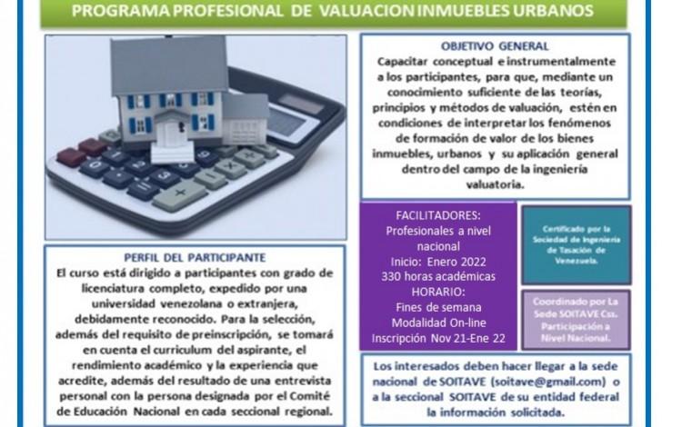 PROGRAMA PROFESIONAL  DE  VALUACION INMUEBLES URBANOS